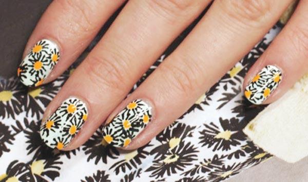 daisies spring nails