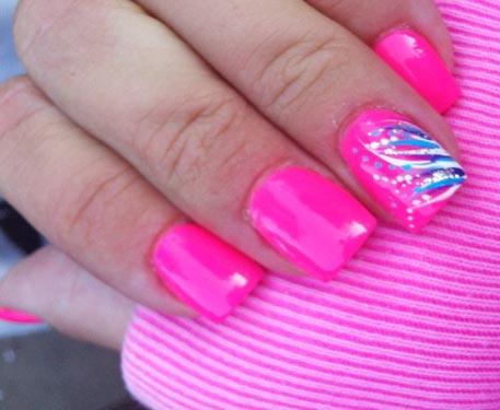 decorated fuchsia nails