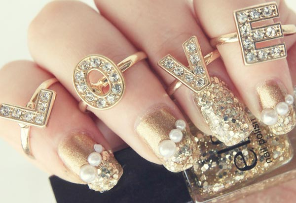 decorated golden nails
