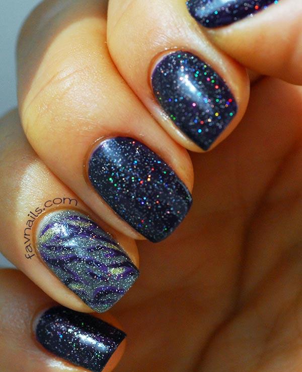 deep purple zebra holo nails