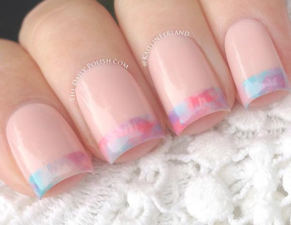 delicate colorful tips french nails