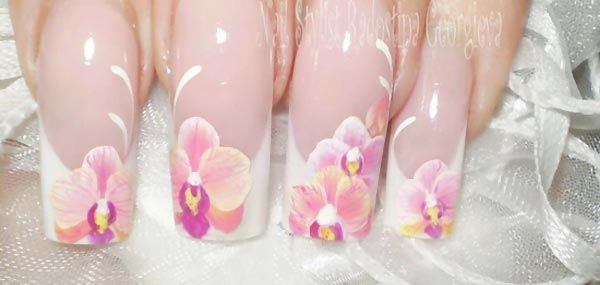 delicate orchid wedding french nails