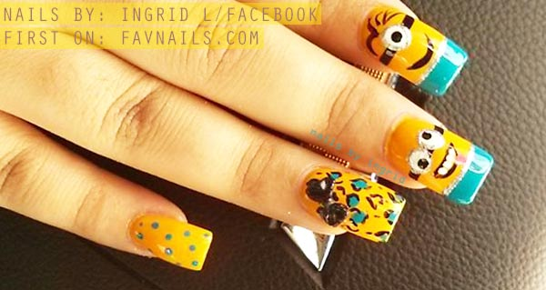 minions despicable me yellow nails