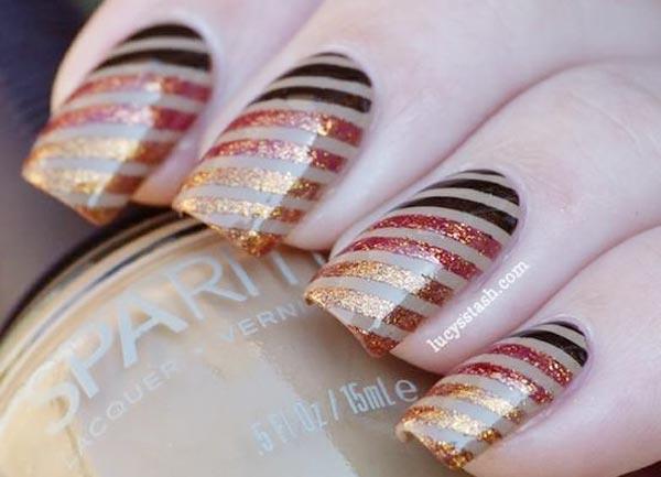 diagonal gradient shimmer striped nails