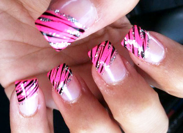 diagonal pink zebra glitter french nails