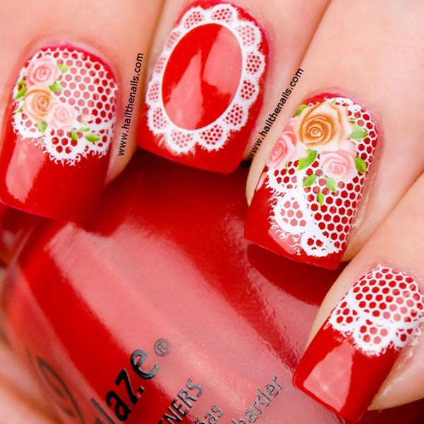 doilies roses red vintage nails
