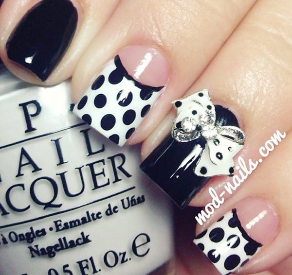 dots 3D bow black and white nails
