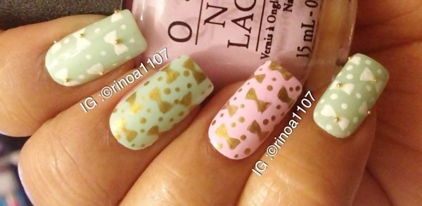 dots bows beads pastel nails