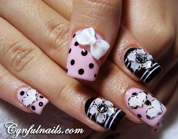 dots bows hearts pink black girly nails