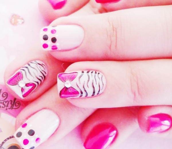 dots bows zebra pink french nails