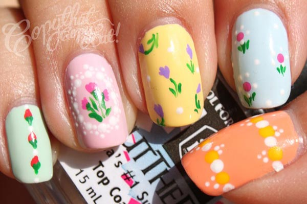 dots flowers pastel spring nails