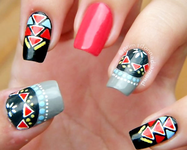 dots geometry aztec accent nails