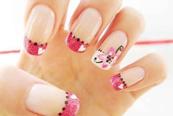 dots hearts flowers pink french nails
