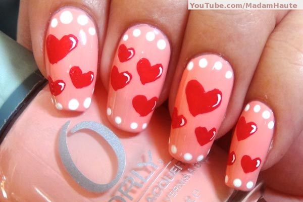 dots hearts pink valentines day nails