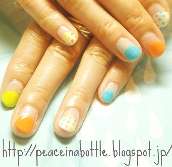 dots pastel halfmoon french nails