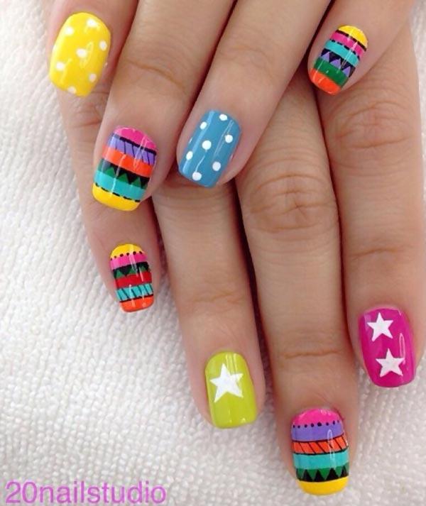 dots stars geometry colorful joyful nails