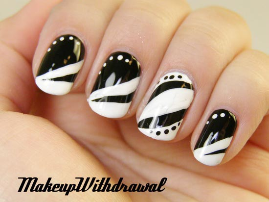 dots black and white french nails