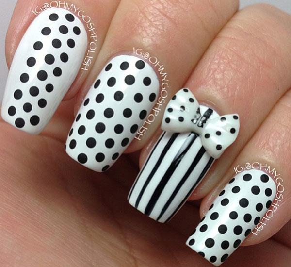 dots stripes bow black and white nails