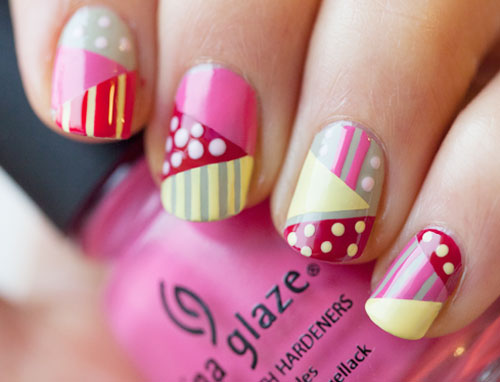 dots stripes colorful geometry nails