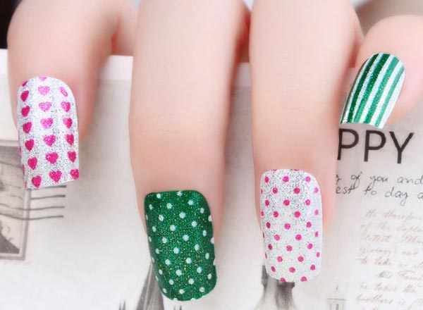 dots stripes hearts green silver nails