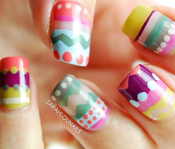 dots stripes tribal graphic pastel nails