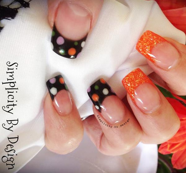 dotted black orange tips fall french nails - Favnails