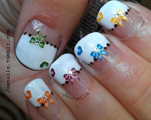 dotted french bows hearts decals lovely nails