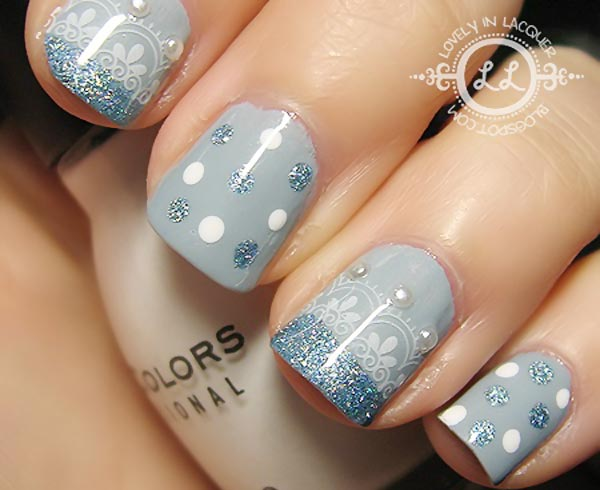 dotted glitter tips lace blue nails