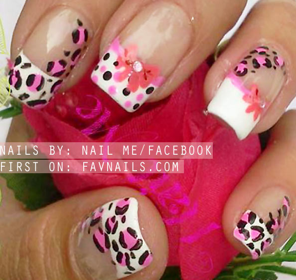 dotted leopard bows lovely french nails