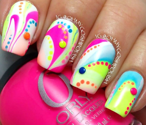 dotted neon summer marbled nails