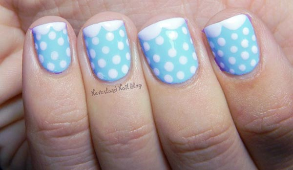 dotted peter pan french blue nails