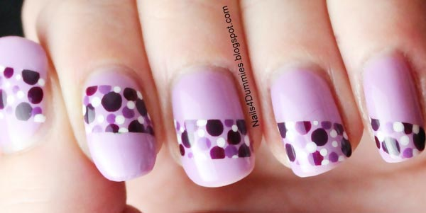 dotted stripe purple nails