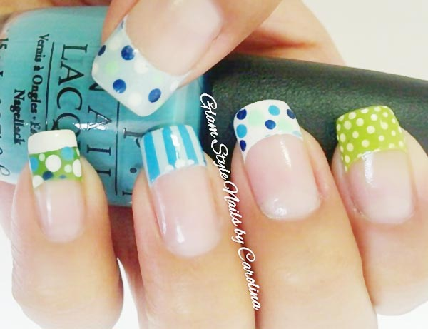 colorful dotted striped lovely french nails
