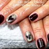 dramatic gradient hearts silver accent nails