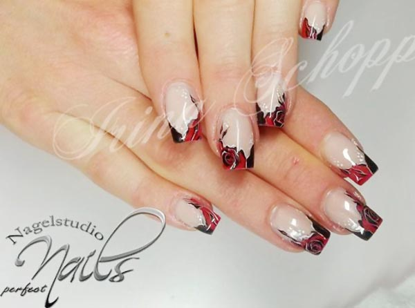 dramatic roses french nails