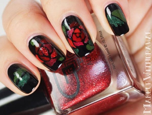 dramatic roses on black nails