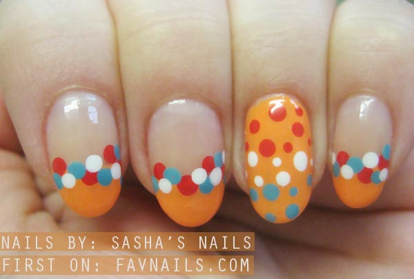 dutch dots accents orange french nails