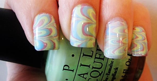 easter marbled nails
