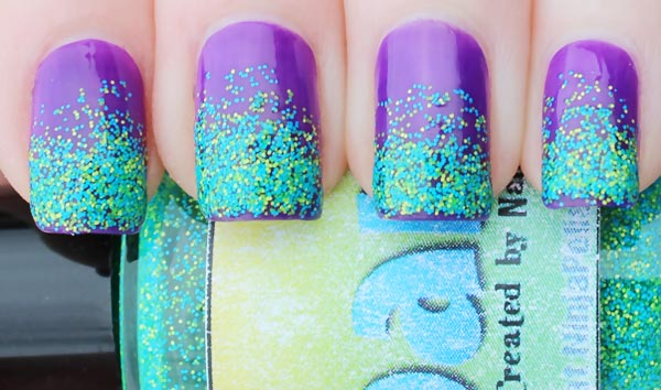 emerald glitter dipped purple nails