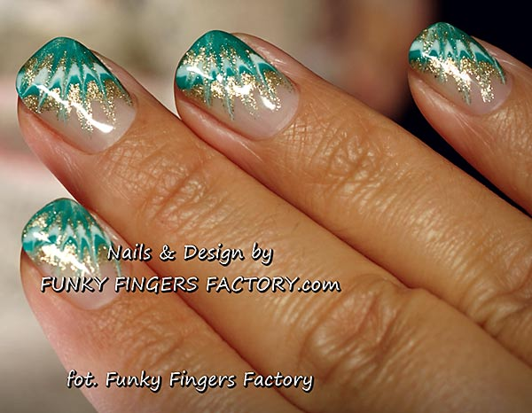 emerald green white gold needle marbled nails