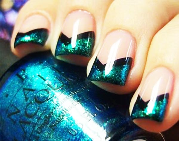 emerald shimmer black striped pointed french nails