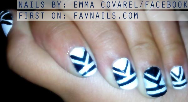 navy white tribal geometry nails