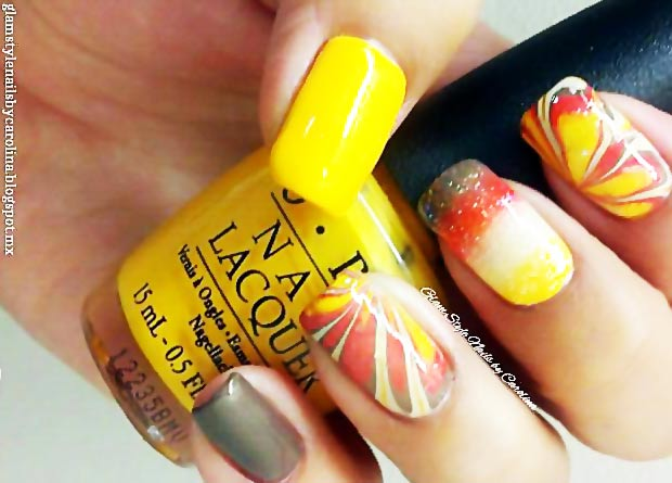 fabulous fall marbled nails