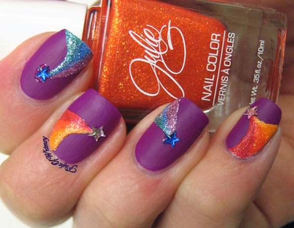 falling stars pixie dust purple matte nails