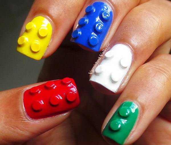 fantastic rainbow 3D lego nails