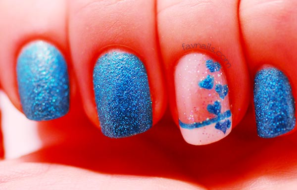 blue french hearts textured pixie dust nails