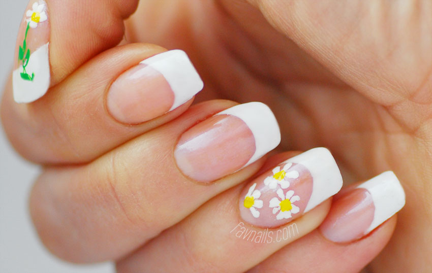 spring flowers simple french nails