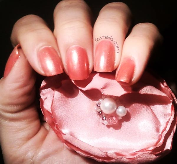 coral bronze lovely girly nails