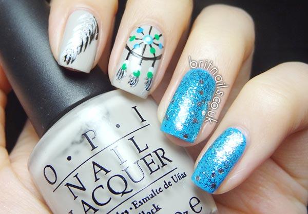 feather dreamcatcher blue nails