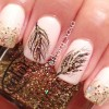 feathered gold glitter pink delicate nails